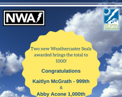 Milestone Achieved For Weathercaster Seal of Approval